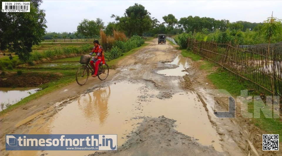 The Main Road at Kumarganj Is in Ruined Condition During this Rainy Season